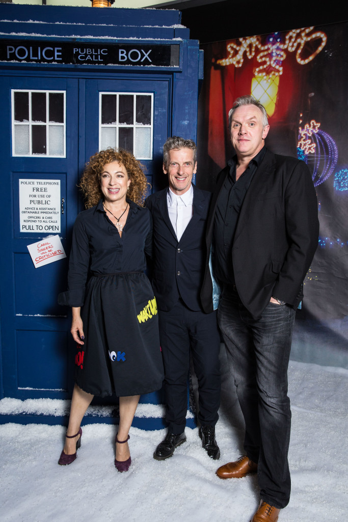 Programme Name: Doctor Who - TX: 16/12/2015 - Episode: The Husbands of River Song (No. n/a) - Picture Shows: Doctor Who Christmas special cast gather at the BFI Doctor Who (PETER CAPALDI), River Song (ALEX KINGSTON), King Hydroflax (GREG DAVIES) - (C) BBC   - Photographer: Jack Barnes